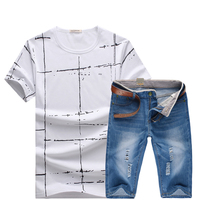 HCXY 2017 Summer T Shirt And Denim Shorts Set Brand Clothing Shorts Men Homme Printing Sportswear