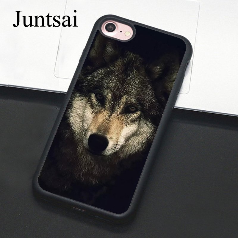 Juntsai Black Wolf Winter Animal Phone Case For Apple
