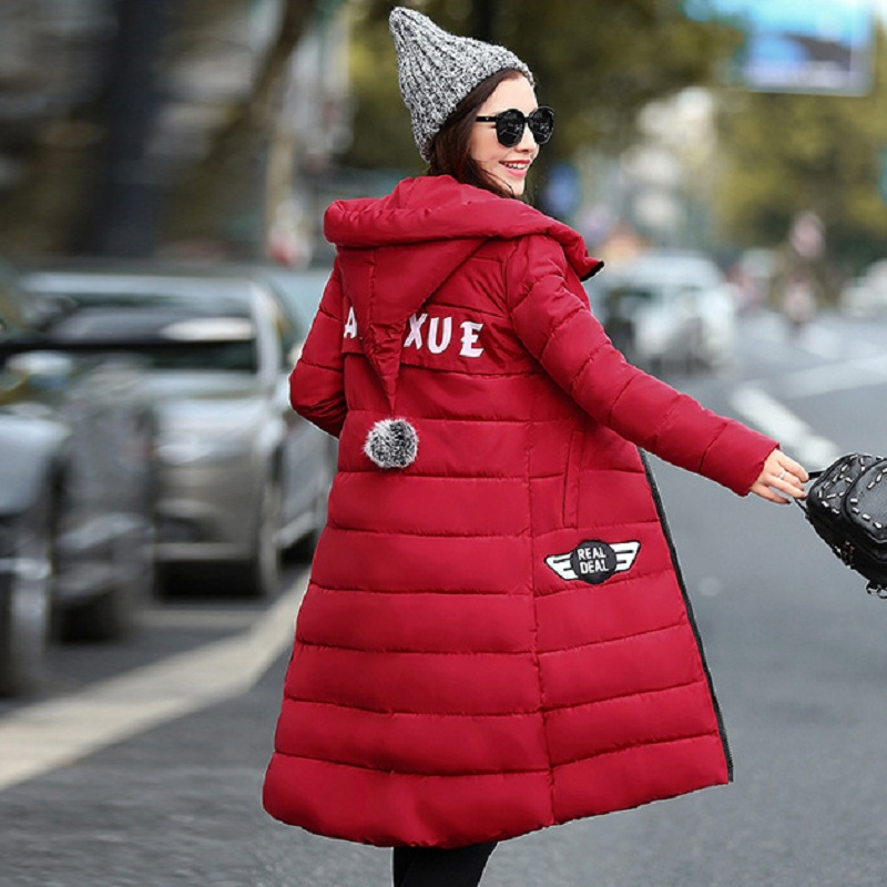 New Long Hooded Women Winter Coat Warm Thick Cotton Parka Slim Winter Zipper Jacket Womens Outwear DQ172322 new 2017 winter jacket women slim long section hooded thick coat casual warm full sleeve zippers parka cotton women jacket coats