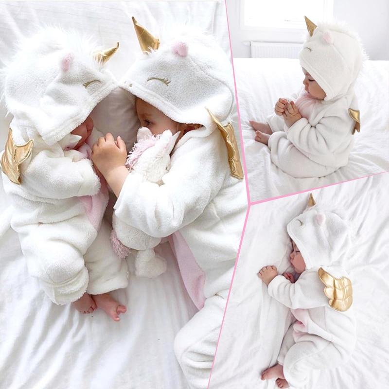 HTB1IBTYadjvK1RjSspiq6AEqXXa0 Emmababy Baby Girl 3D Unicorn Flannel Rompers Fashion ropa bebe girls Cartoon Hooded warm zipper Jumpsuit Newborn Romper Clothes