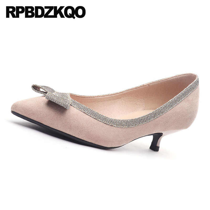 62c30f02750363 ... Sweet Slip On Japanese High Heels Pumps Kawaii Bow Size 4 34 2018 Nude Kitten  Bridal ...