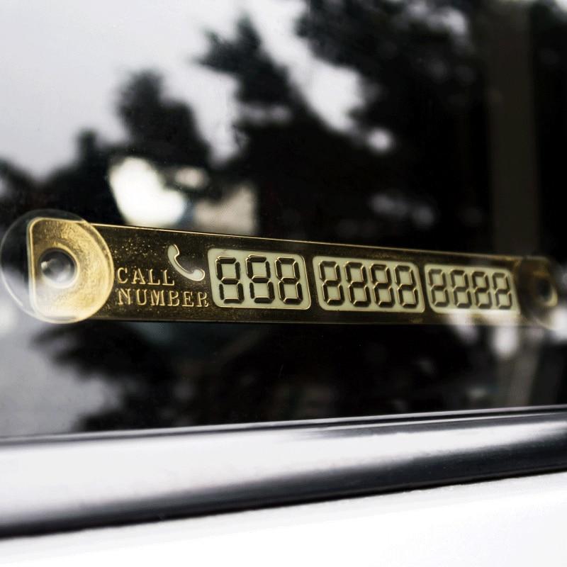 LEEPEE  Car Phone Number Card Metallic Plate Parking Notification Automobile Luminous Telephone Number Mini Computer Car Syling