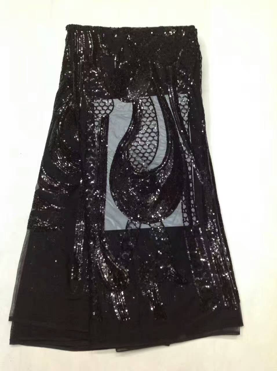 Black french sequin mesh fabric for evening dresses high quality african tulle lace fabric 2017 hot sale ALC-JL1062