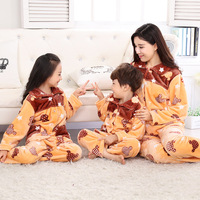 2017 Soft Mother And Daughter Matching Pj Flannel Family Matching Pajamas Women Homewear Warm Pajamas For