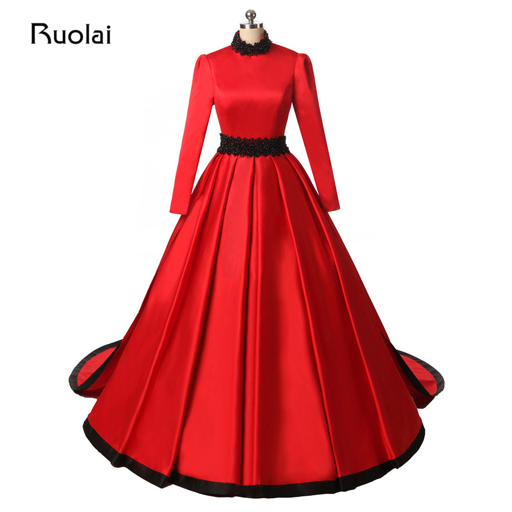 Real Photo Dubai Ball Gown Red Prom Dresses Long Sleeve High Neck ...