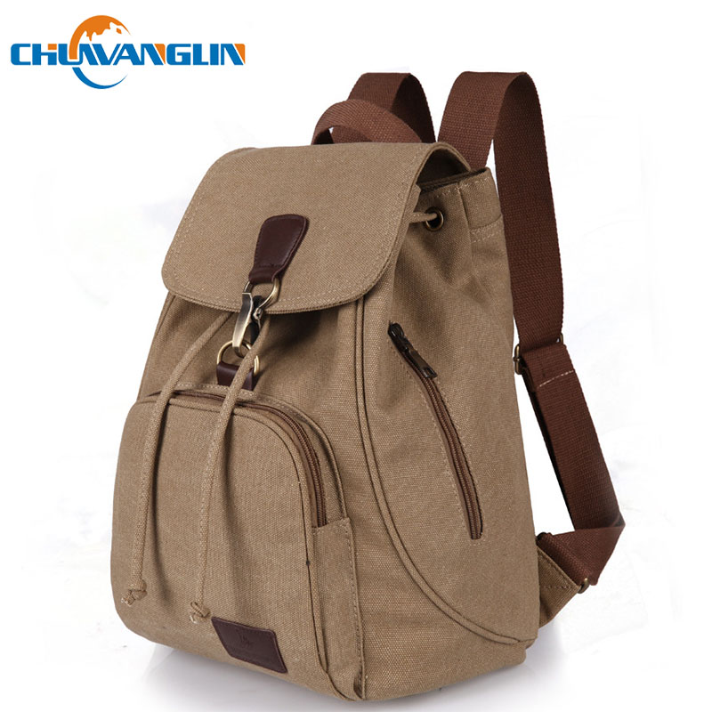 Chuwanglin Fashion Canvas Women Backpack Casual Pure Color Woman Travel Bag Vintage Large Capacity Lady's School Bag Laptop Bag