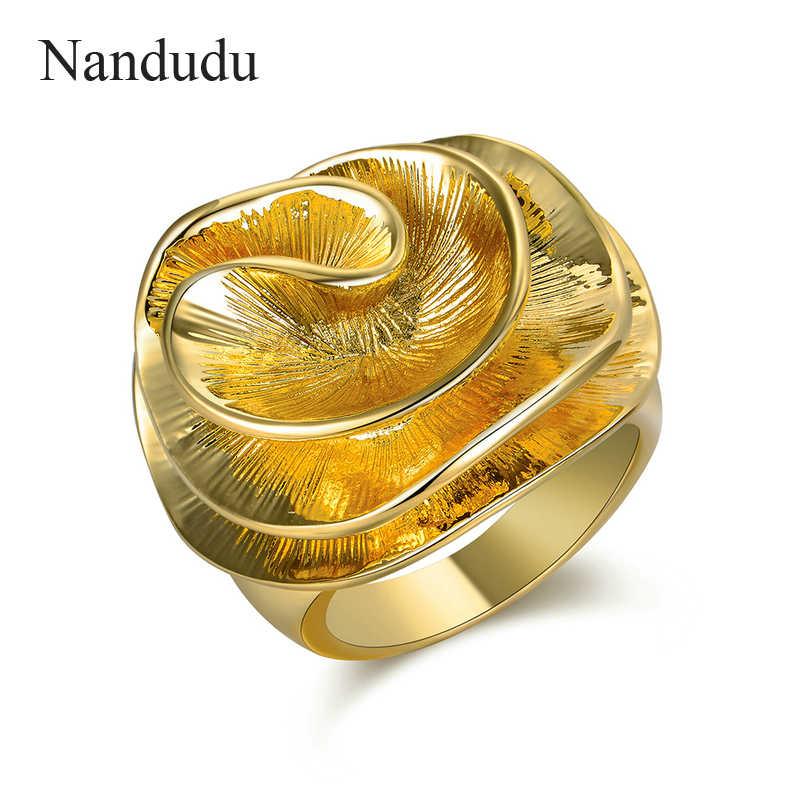 f90e81e50d37 Nandudu oro amarillo Color cobre flor anillos para las mujeres chica mujer  regalo de joyería de