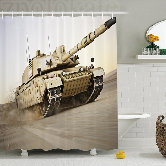 War Home Decor Shower Curtain Military Tank Moving Sdy With Motion Blur Over Sand Dangerous Artillery