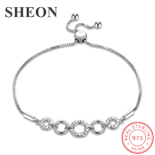 SHEON Authentic 100% 925 Sterling Silver Trendy Simple Adjustable Bracelets & Bangles Women Jewelry New Arrival