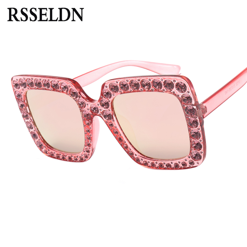 823af423ca RSSELDN High Quality Rhinestone Sunglasses Women Luxury Brand Black Pink Oversized  Sun glasses For Women Square Fashion Shades-in Sunglasses from Apparel ...