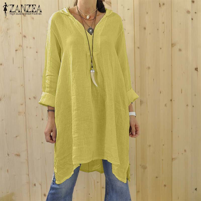 Plus Size ZANZEA Women V Neck Long Sleeve Shirt Autumn Solid Cotton Linen Long Blouse Elegant Work OL Tops Casual Baggy Blusas
