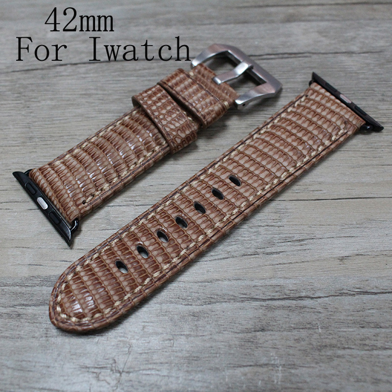 все цены на 42mm Brown Apple Watchband,Special Design Lizard Skin leather Apple Watch Strap,For Iwatch Apple watch,With Adapter онлайн