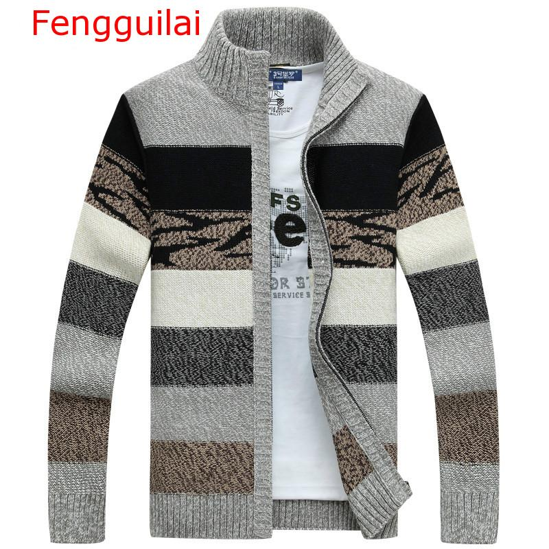 Fengguilai Men's Knitted Sweaters Cardigans Collar Winter Wool Sweater Fashion Cardigans Male Sweaters Coat Brand Men's Clothing