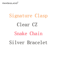 Pandulaso Snake Chain Bracelets With Clear CZ Crystal Signature Clasp Original Silver 925 Charms Bracelets For