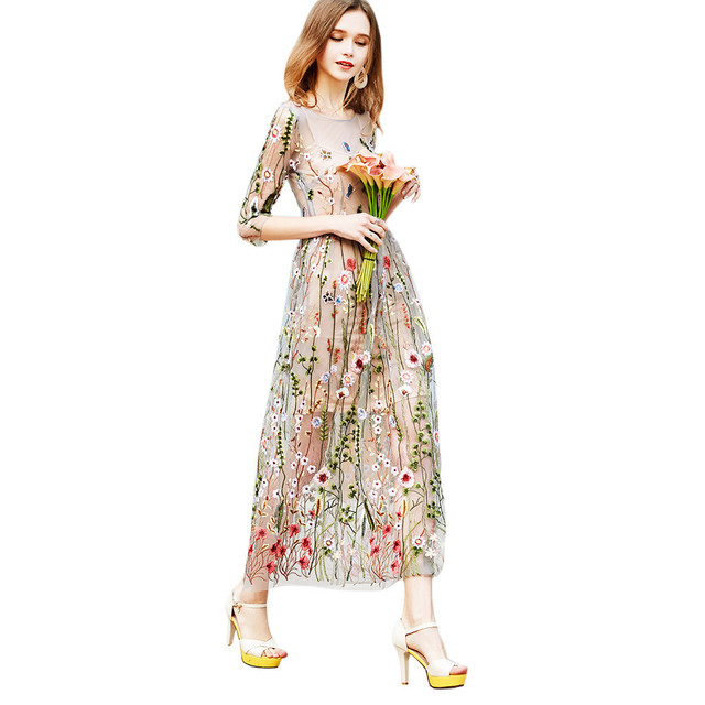 US $49.99 49% OFF|Kenancy Plus Size Runway Dresses Gorgeous Bohemian Sheer  Mesh Flower Embroidery Party Long Maxi Women Dress Vestidos De Festa-in ...