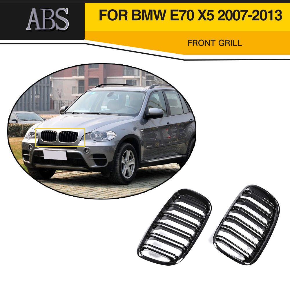 Black Double Slat Kidney Grille Front Grill Grills For BMW E70 X5 SUV 4 Door 2007 - 2013 Car Styling 2pcs matte black front kidney grilles for bmw x5 e53 3 0 4 4 4 6 4 8 04 06 car front bumper grille for modification car styling