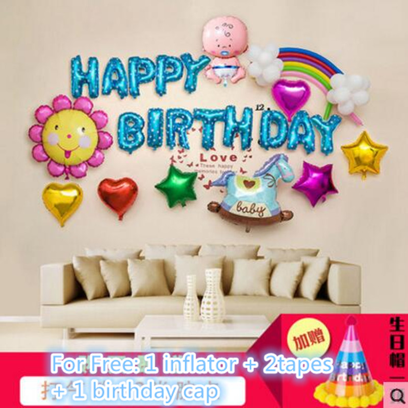 Fantastic Idea Happy 1st Birthday Boy Girl Blue Pink Balloon Party Table Decoration Display Kit Decor FL 15 In Backdrops From Home