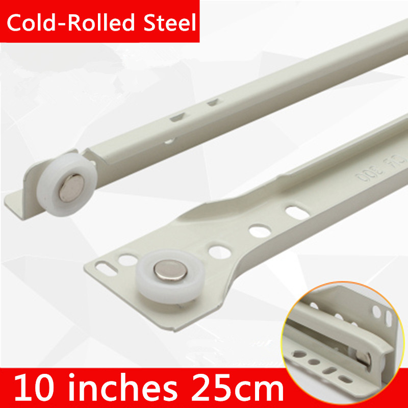 2 pairs 10 inches 25cm Knock-down Two Sections Cold-Rolled Steel Drawer Track Slide Guide Rail accessories Furniture Slide keyboard drawer slide rail slide chute underpinning guide pulley white mute two rail track
