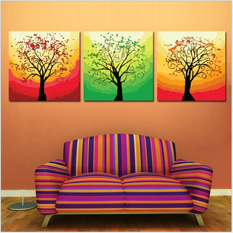 Hand painted wall art 50*50CM*3 Triptych canvas painting Glare tree painting by numbers wall pictures for living room H498