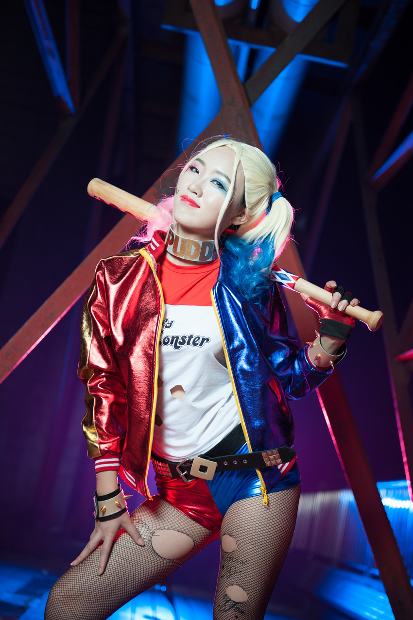 Fashion women jacket harley quinn red mixed blue d