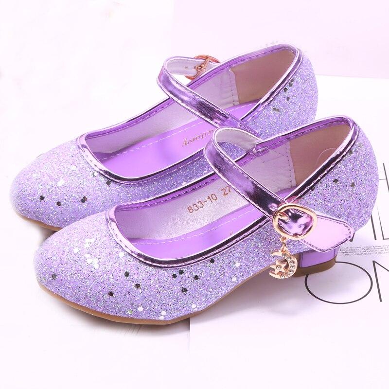 Mudipanda  Girl High Heels Pink Sandals Children's Purple Blue Princess Shoes Sequin Students Dance Shoes Size 27-37 Kids Sandal