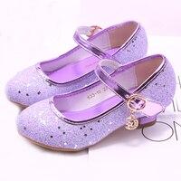 Mudipanda girl high heels Pink Sandals children's purple blue princess shoes sequin students dance shoes size 27 37 kids sandal