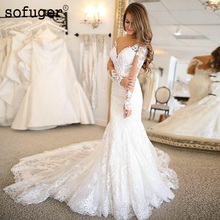 Long Sleeves Mermaid Appliques Wedding Bridal Tulle Dress Sweetheart Vestidos de Noivas Court Train White Ivory