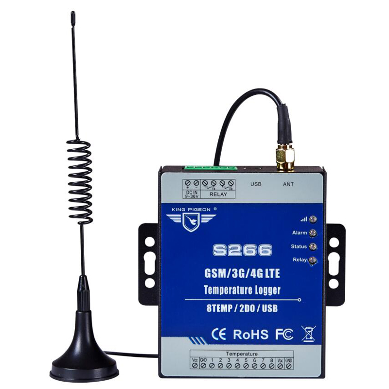 3G 4G Cellular Temperature Data Logger SMS IIOT RTU Module Supports 8 Temp Inputs S266 lpsecurity 3g s261 gsm sms 4 sensor inputs temperature monitoring rtu online temperature alarm controller data transmission unit