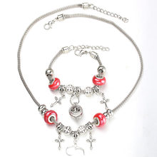 6 Colors Cross Necklace Bracelet Set Lobster Clasp Fine Red Bead Hollow Chain Beaded Bracelet With Hook DIY Pendant Jewelry(China)