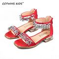 CCTWINS KIDS 2017 Summer Rhinestones Ankle Fashion Red Sandal Children Baby Brand Shoe Girl Kid Silver Princess Beach Flat B673