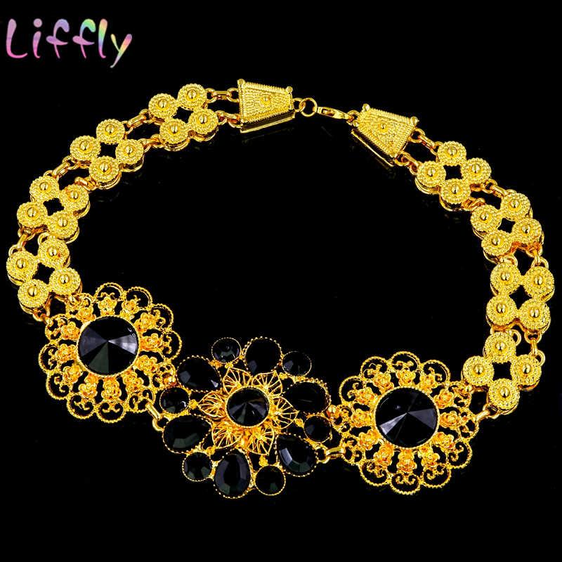 Ожерелье, серьги, кольцо, браслет, Африканский женский ювелирный набор 2019, желтый тон, черный цветок, золотые аксессуары, женские свадебные ювелирные изделия