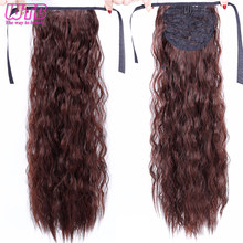 WTB Long Wavy Fake Hair Pieces Drawstring Ponytail Extensions for Women Synthetic High Temperature Fiber Hair Extensions(China)