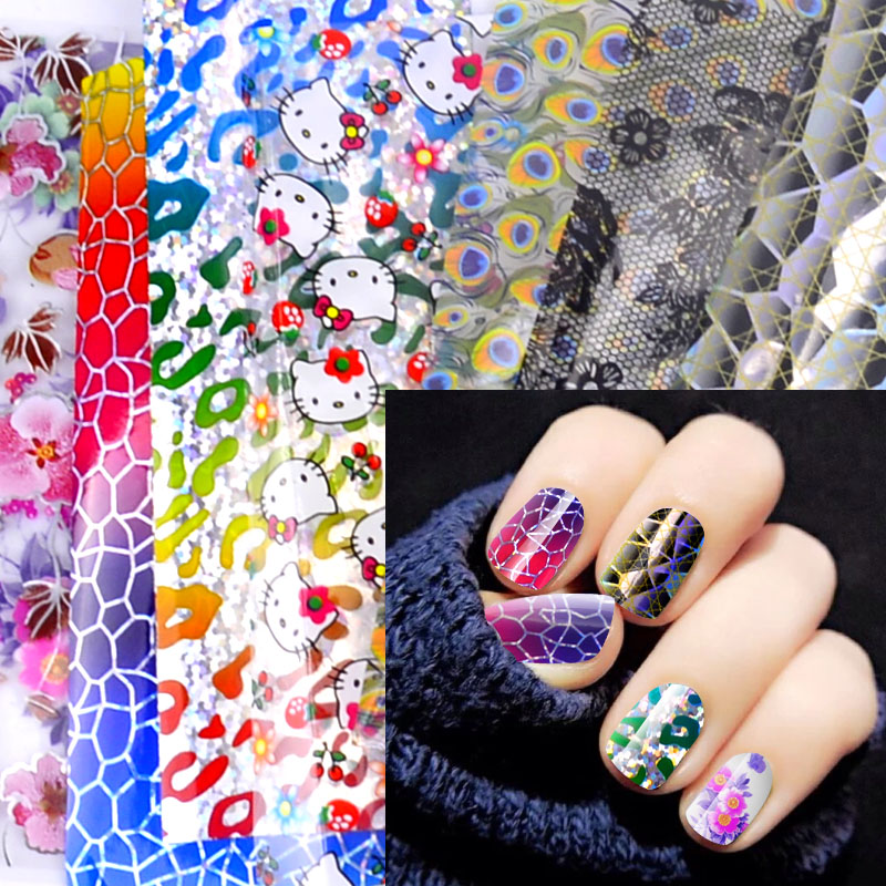 20 Designs Nail Art Foils Laser Shinning Mixed Beauty Transfer Tips Sticker Craft DIY Universe Decorations designs nail art transfer foils sticker 12pcs lot hot beauty free adhesive nail polish nail tips decorations accessories
