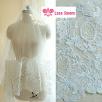 Extra Wide Lace Wedding Accessories 30cm Wide Ivory Fine Luxury Car Bone Lace Sequined Lace Trim