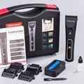 Pelo profesional eléctrico clipper hoja titanium 2000ma batería de los hombres barba trimmer pantalla lcd máquina de corte de pelo para el salón