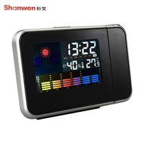 Sale Thermometer Rotary Projection Electronic Thermometer Humidity Gauge Indoor Colorful Monitor Digital Thermometer With Alarm Clock