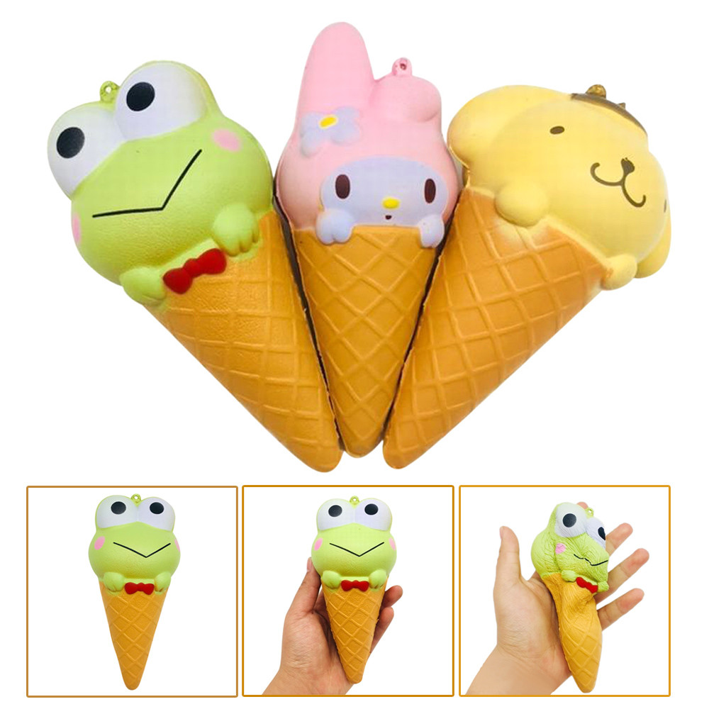 Cute Gift Exquisite Fun Ice Cream Scented Squishy Charm Slow Rising Simulation Kid Toy Rabbit frog bear shape big cone Gift