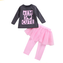 2019 Spring Autumn New Childrens Set Girls Pink Letter Print Suit Kids Long Sleeve Fashion Clothes