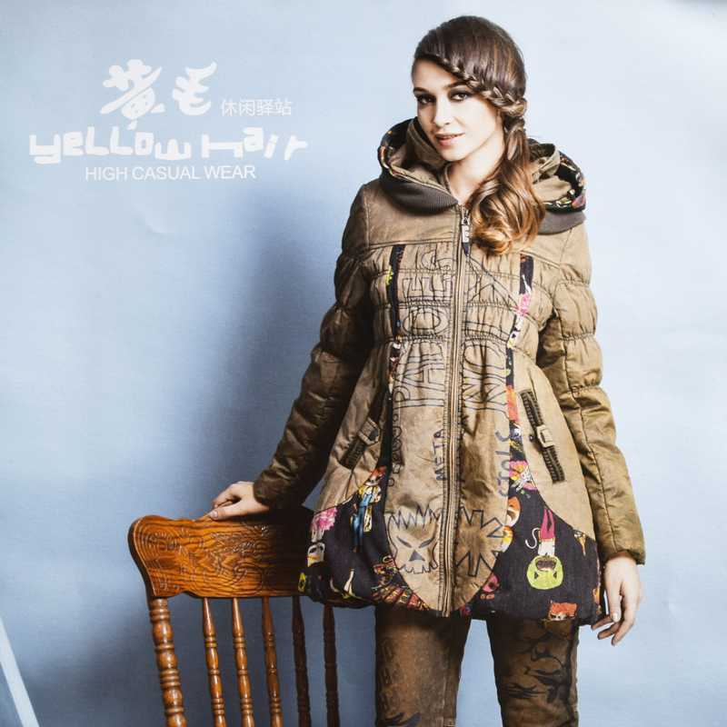 ФОТО 2015 New Women Hooded Cartoon Print Loose Coats Fashion Winter A-Line Wadded Parkas Woman Plus Size Thicken Overcoats H4501