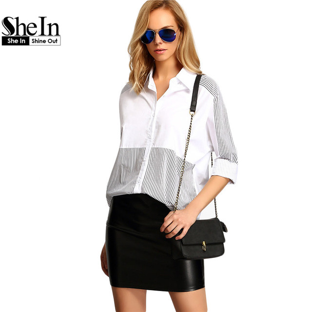 SheIn Colour Block Lapel Striped Loose Blouse Womens Blouses For Spring Summer Ladies 2016 Long Sleeve Casual Blouse