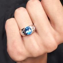Men Rings Genuine Natural Topaz Gem Man Real 925 Sterling Silver Precious Blue Gemstone