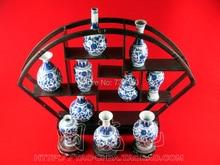 Art pot decor for home Antique blue and white interlocking lottos bottle crafts vase erudition decoration free shipping vase