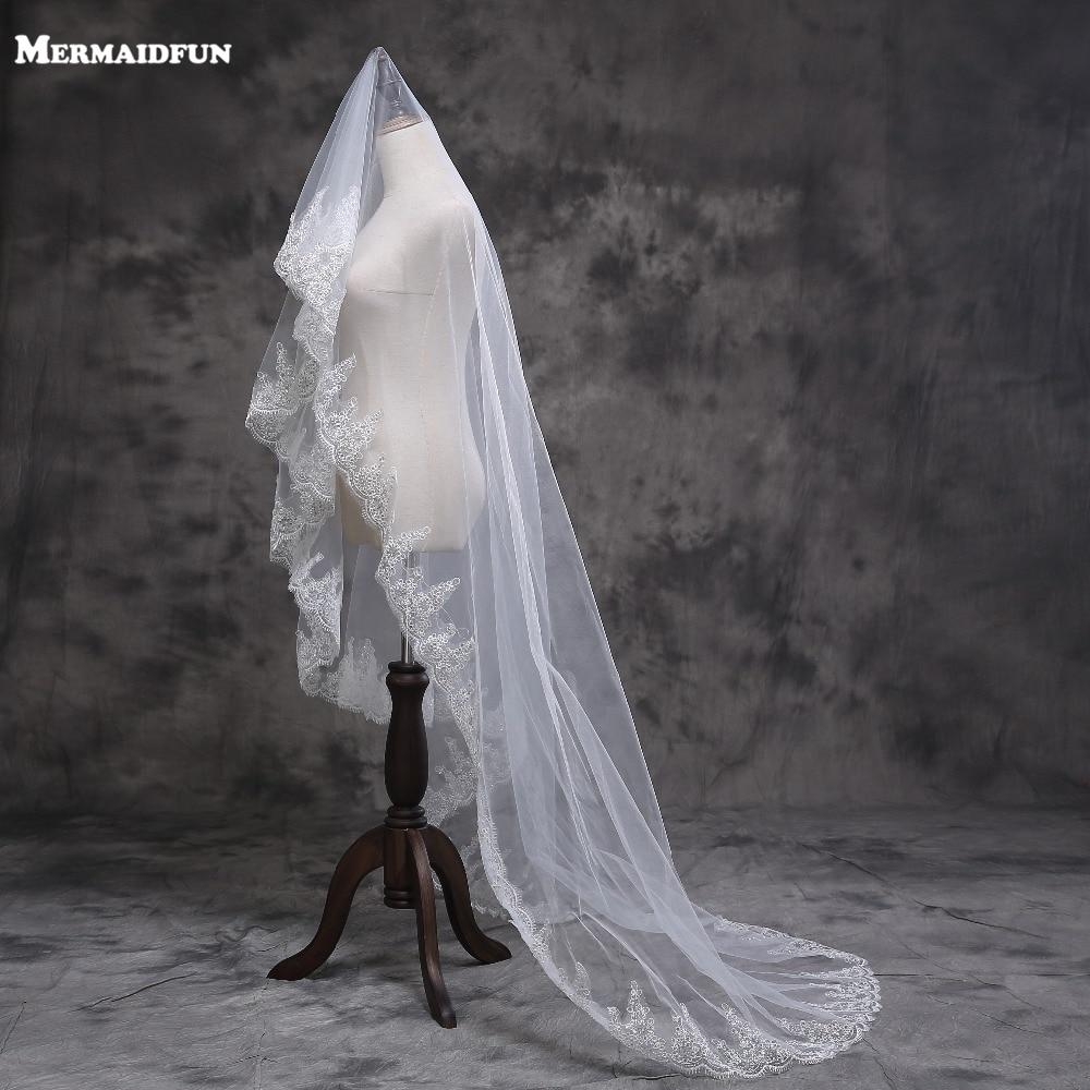 2019 Új Arrvial egyrétegű teljes csipke hosszú székesegyház 3 méteres esküvői fátyol 3 M menyasszonyi fátyol Voile Mariage