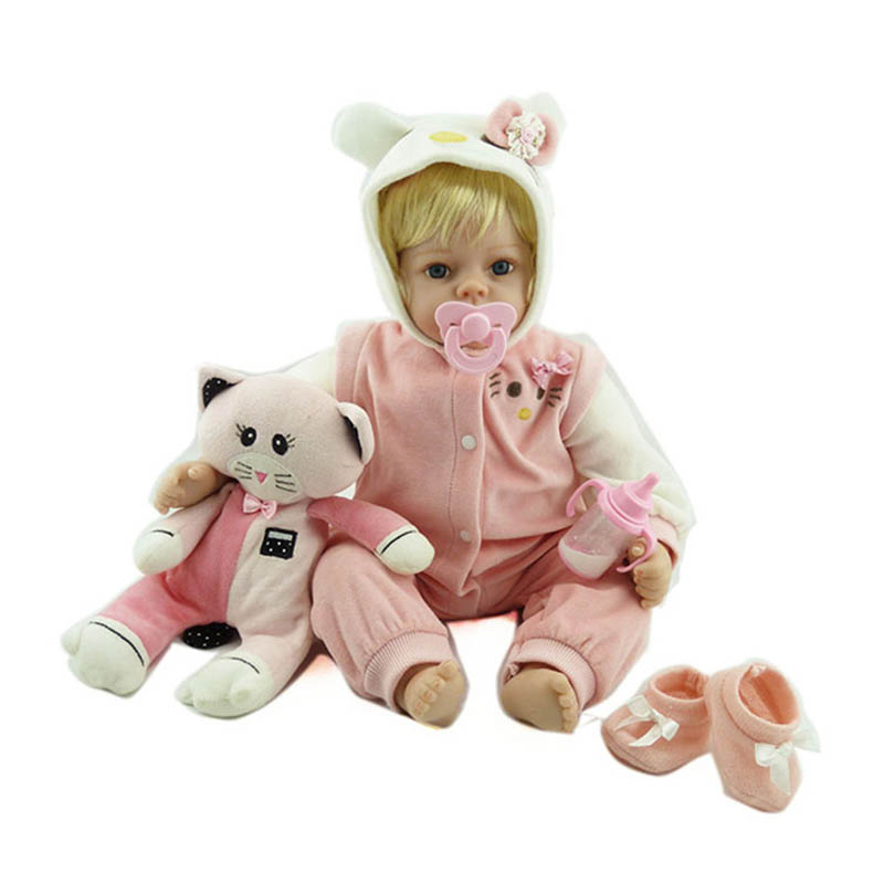 все цены на 55cm Hot sale cheap dollar Victoria Lifelike newborn Baby Bebe kid toy cute girl silicone reborn baby dolls онлайн