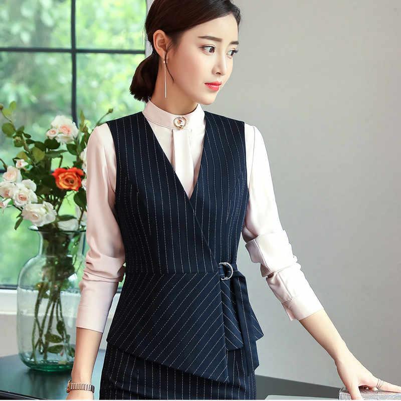 aa4f92e58 ... Autumn New Fashion Vest OL Professional women stripes work uniforms  Slim V Neck Formal office vests ...