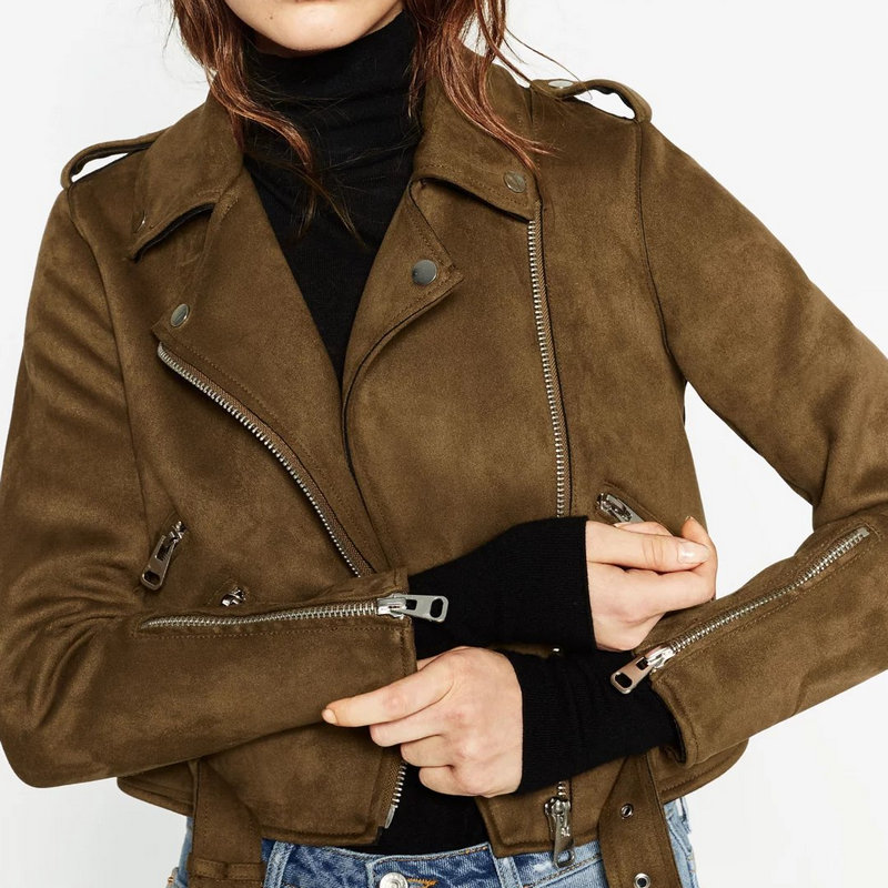 2018 Autumn Winter Women New Motorcycle Suede Faux Leather Jackets Lady Short Slim Zipper Belted Matt PU Coat Streetwear Clothes