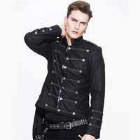 Steampunk Men's Asymmetrical Stand Collar Black Single Breasted Jacket Fashion Rock Military Coat