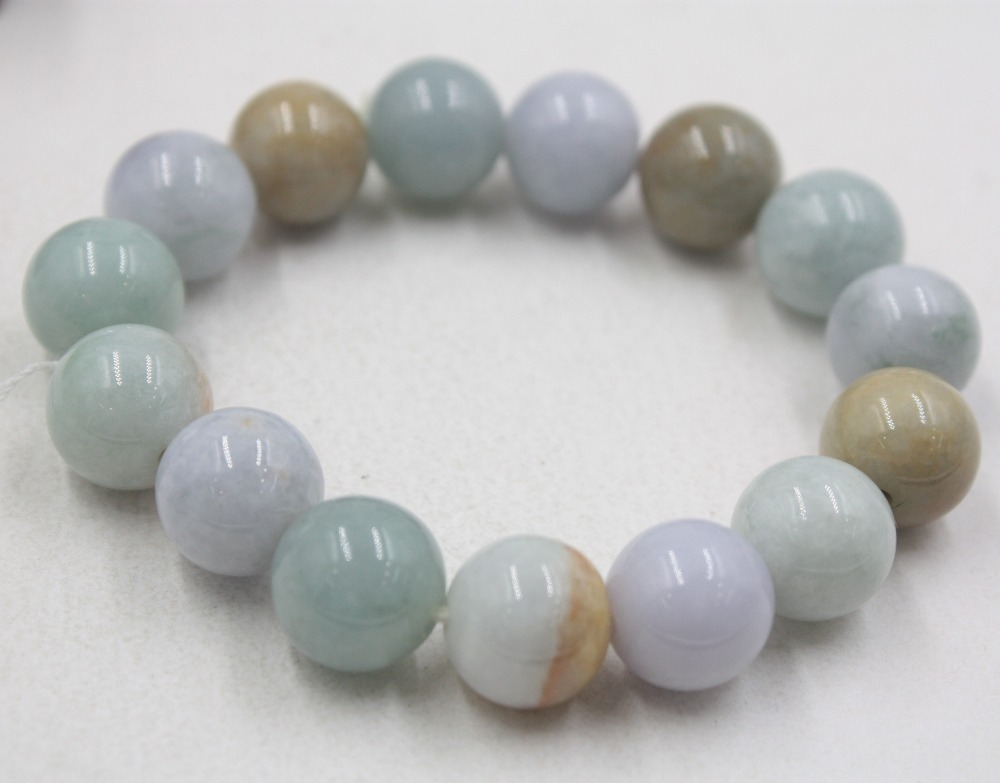 Gift Natural Grade A Jade White Jadeite 13.5mm Smooth Round Color Beads Bracelet Link For Women Man Lady 16-17cmLGift Natural Grade A Jade White Jadeite 13.5mm Smooth Round Color Beads Bracelet Link For Women Man Lady 16-17cmL