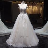 New Elegant Off The Shoulder A Line Wedding Dress 2018 V Neck Tulle Bride Wedding Gowns