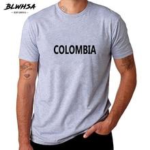 Мужская футболка BLWHSA Colombia, хлопковая футболка с коротким рукавом и принтом